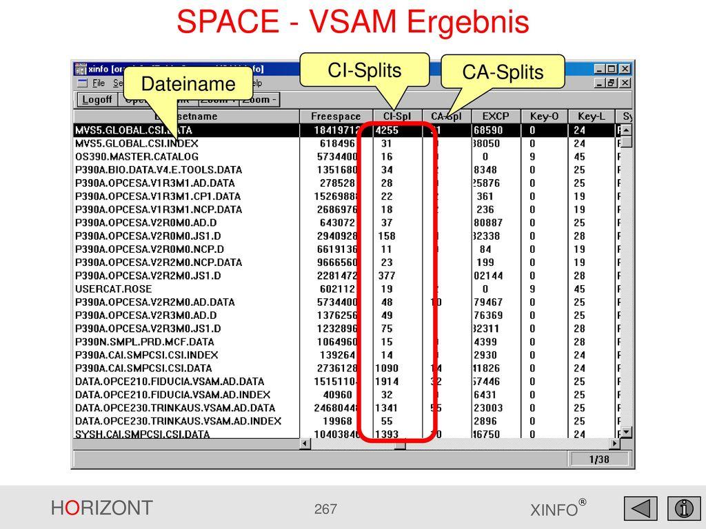 SPACE - VSAM Ergebnis CI-Splits CA-Splits Dateiname
