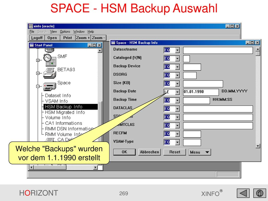 SPACE - HSM Backup Auswahl