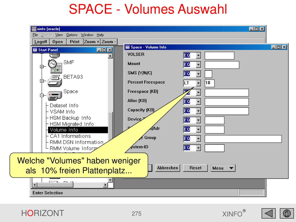 SPACE - Volumes Auswahl