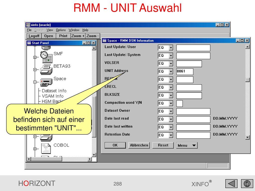 Welche Dateien befinden sich auf einer bestimmten UNIT ...