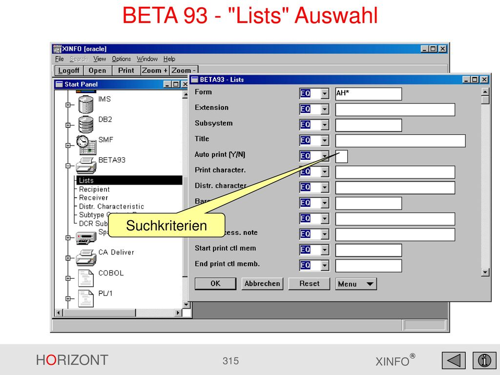 BETA 93 - Lists Auswahl Suchkriterien