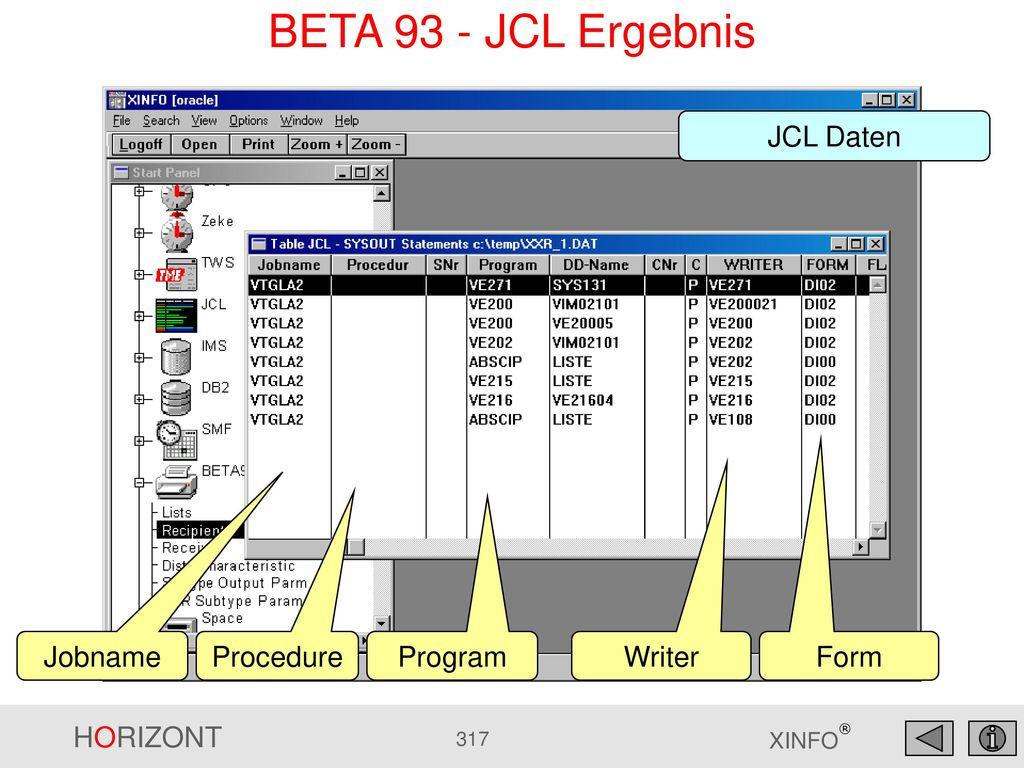 BETA 93 - JCL Ergebnis JCL Daten Jobname Procedure Program Writer Form