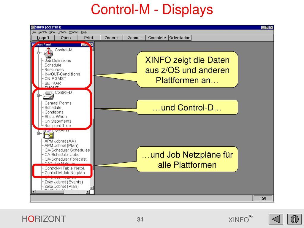 Control-M - Displays XINFO zeigt die Daten aus z/OS und anderen Plattformen an… …und Control-D… …und Job Netzpläne für alle Plattformen.