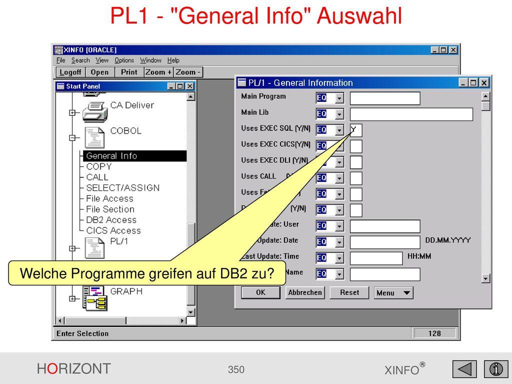 PL1 - General Info Auswahl