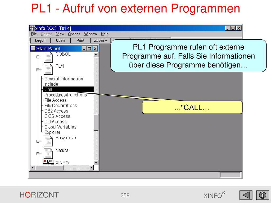 PL1 - Aufruf von externen Programmen