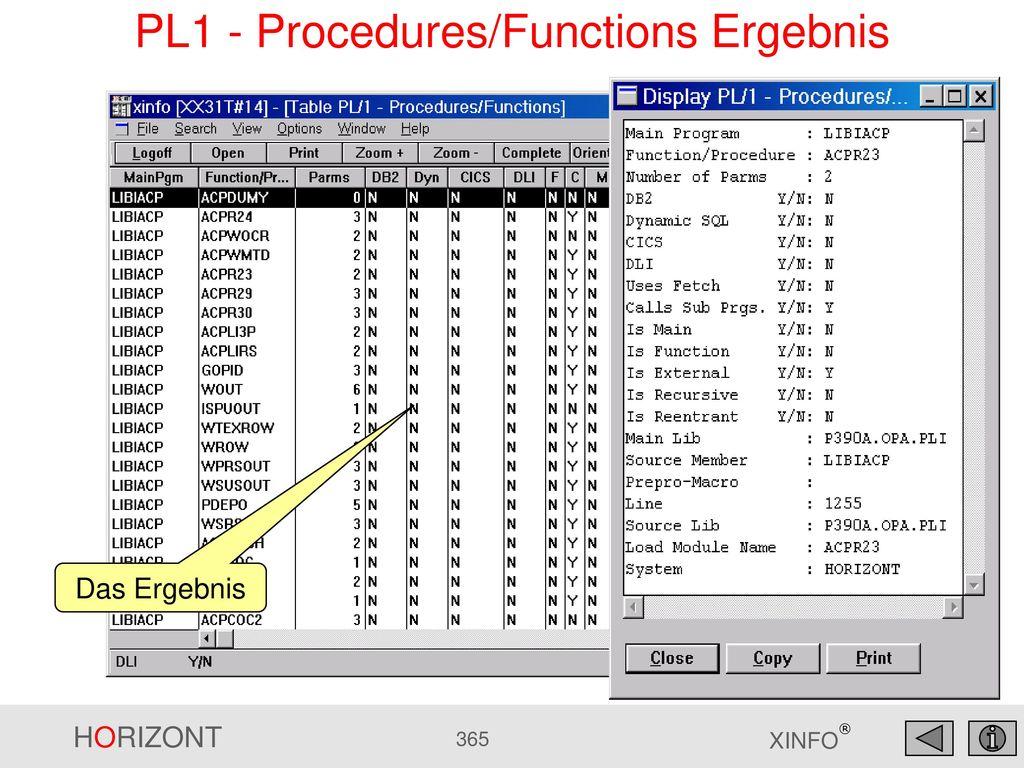 PL1 - Procedures/Functions Ergebnis
