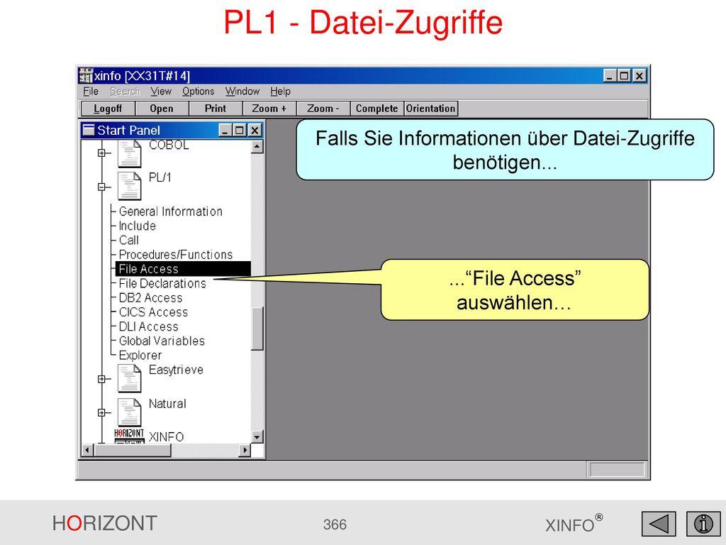 PL1 - Datei-Zugriffe Falls Sie Informationen über Datei-Zugriffe benötigen...