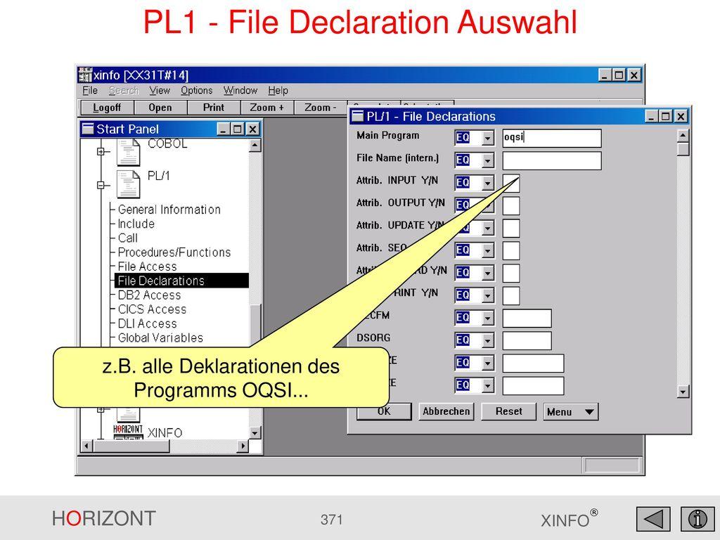 PL1 - File Declaration Auswahl