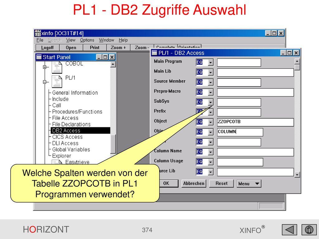 PL1 - DB2 Zugriffe Auswahl