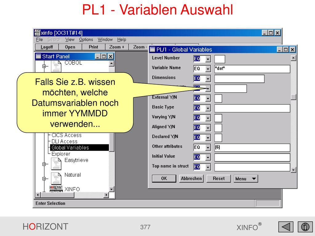 PL1 - Variablen Auswahl Falls Sie z.B.