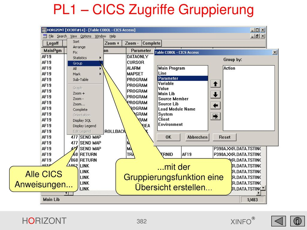 PL1 – CICS Zugriffe Gruppierung