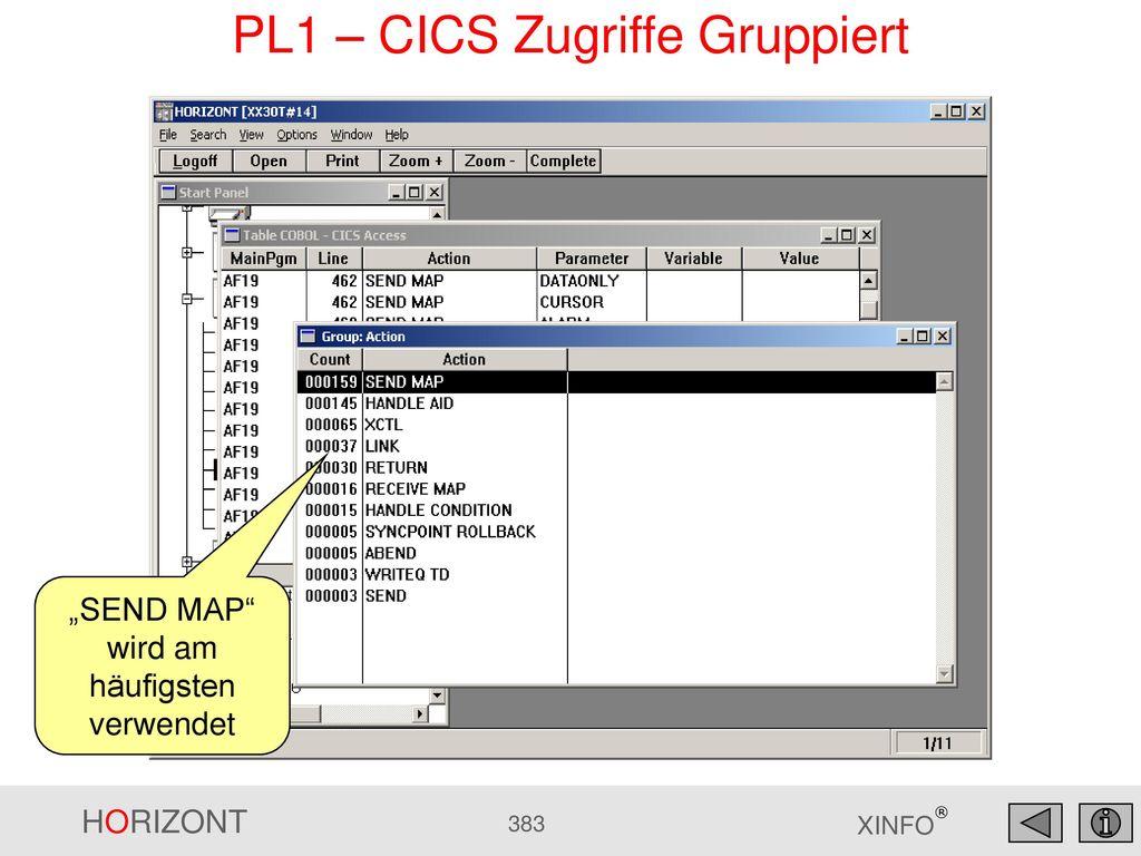 PL1 – CICS Zugriffe Gruppiert