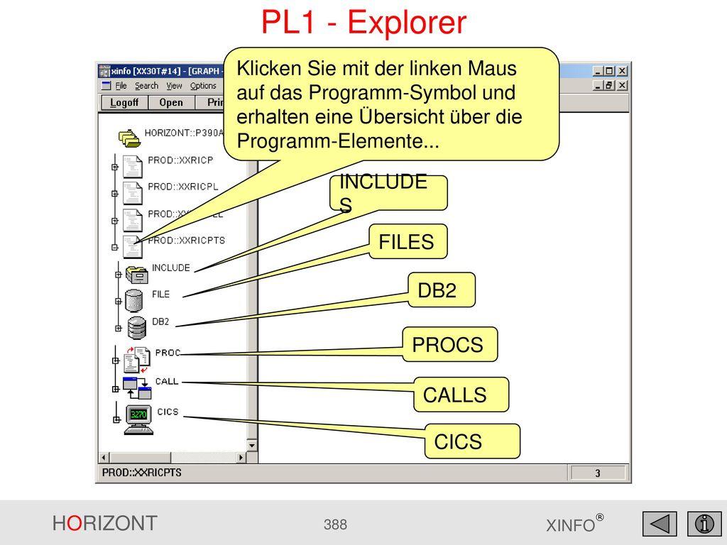 PL1 - Explorer Klicken Sie mit der linken Maus auf das Programm-Symbol und erhalten eine Übersicht über die Programm-Elemente...
