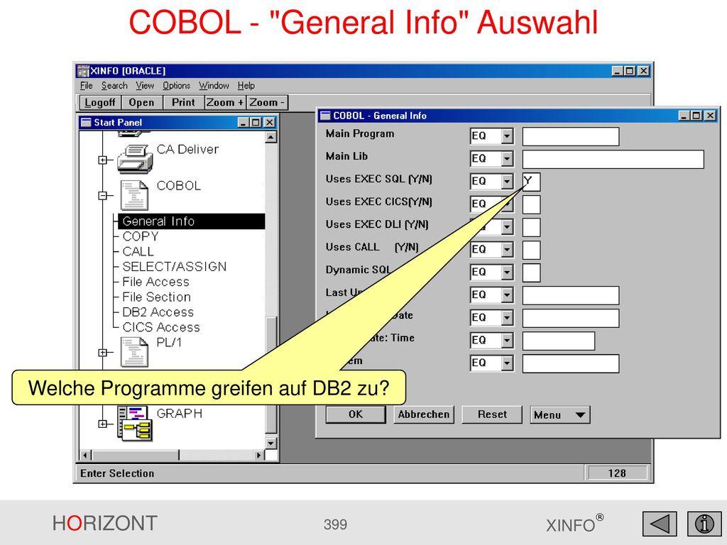 COBOL - General Info Auswahl