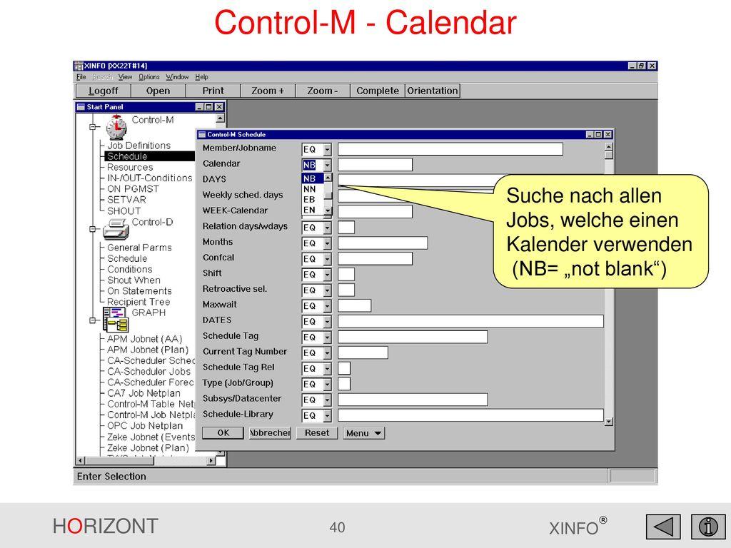 """Control-M - Calendar Suche nach allen Jobs, welche einen Kalender verwenden (NB= """"not blank )"""