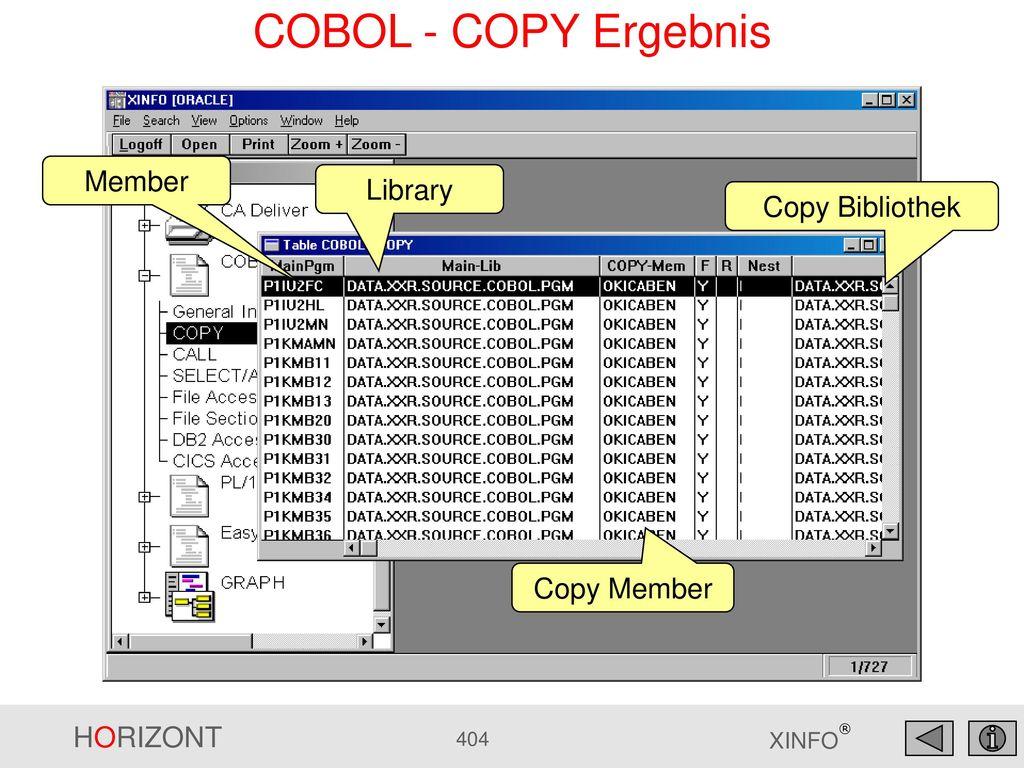COBOL - COPY Ergebnis Member Library Copy Bibliothek Copy Member