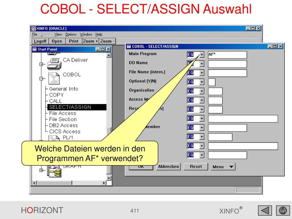 COBOL - SELECT/ASSIGN Auswahl
