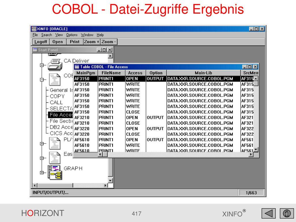 COBOL - Datei-Zugriffe Ergebnis