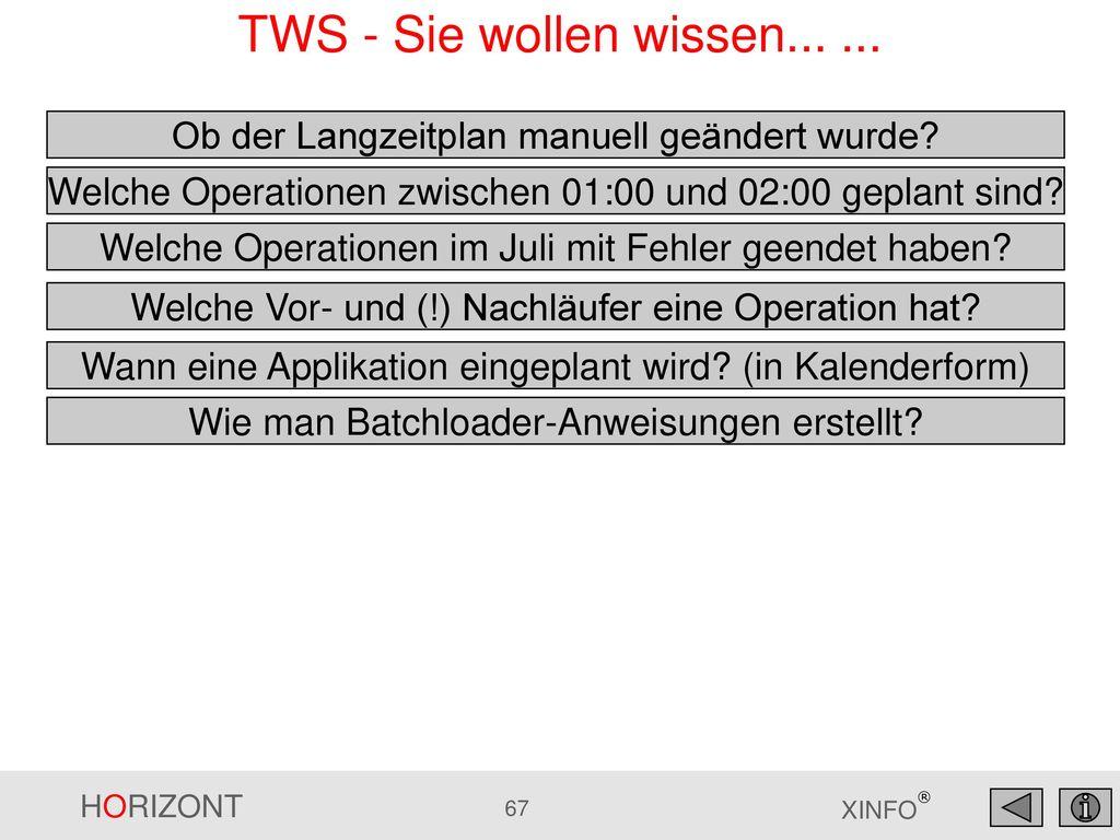 TWS - Sie wollen wissen... ... Ob der Langzeitplan manuell geändert wurde Welche Operationen zwischen 01:00 und 02:00 geplant sind