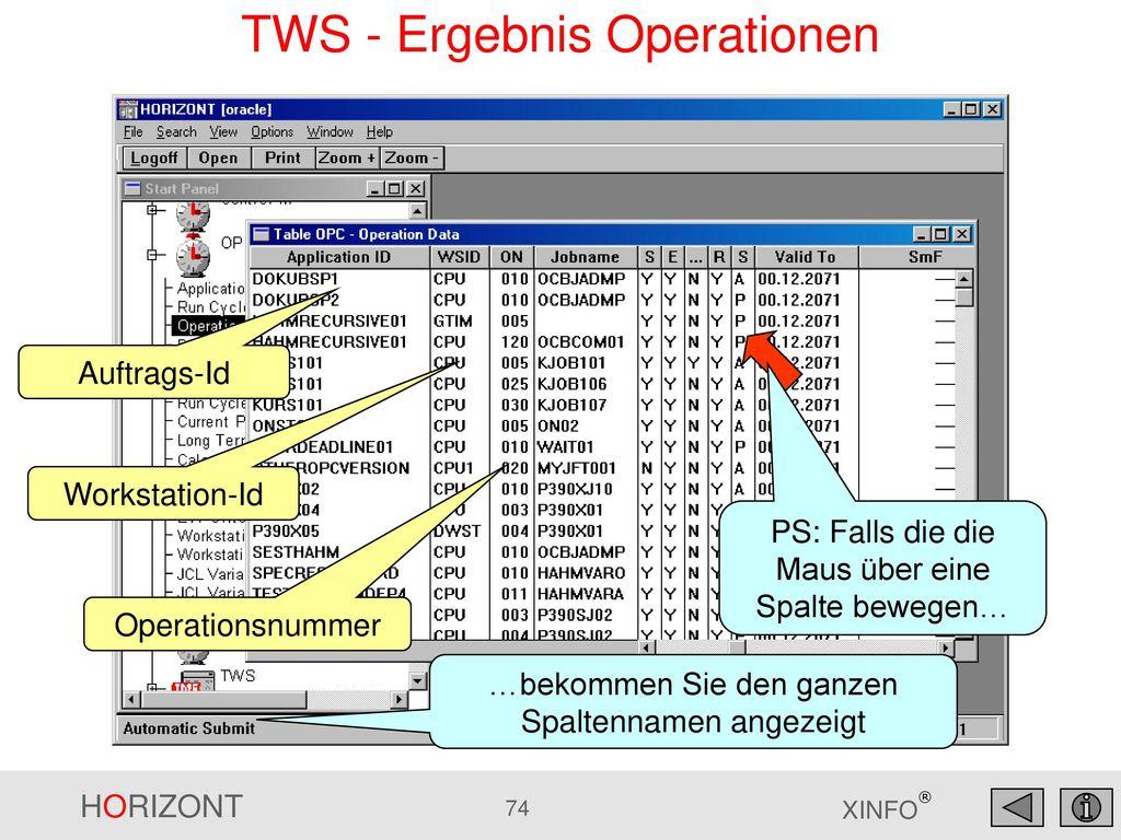 TWS - Ergebnis Operationen