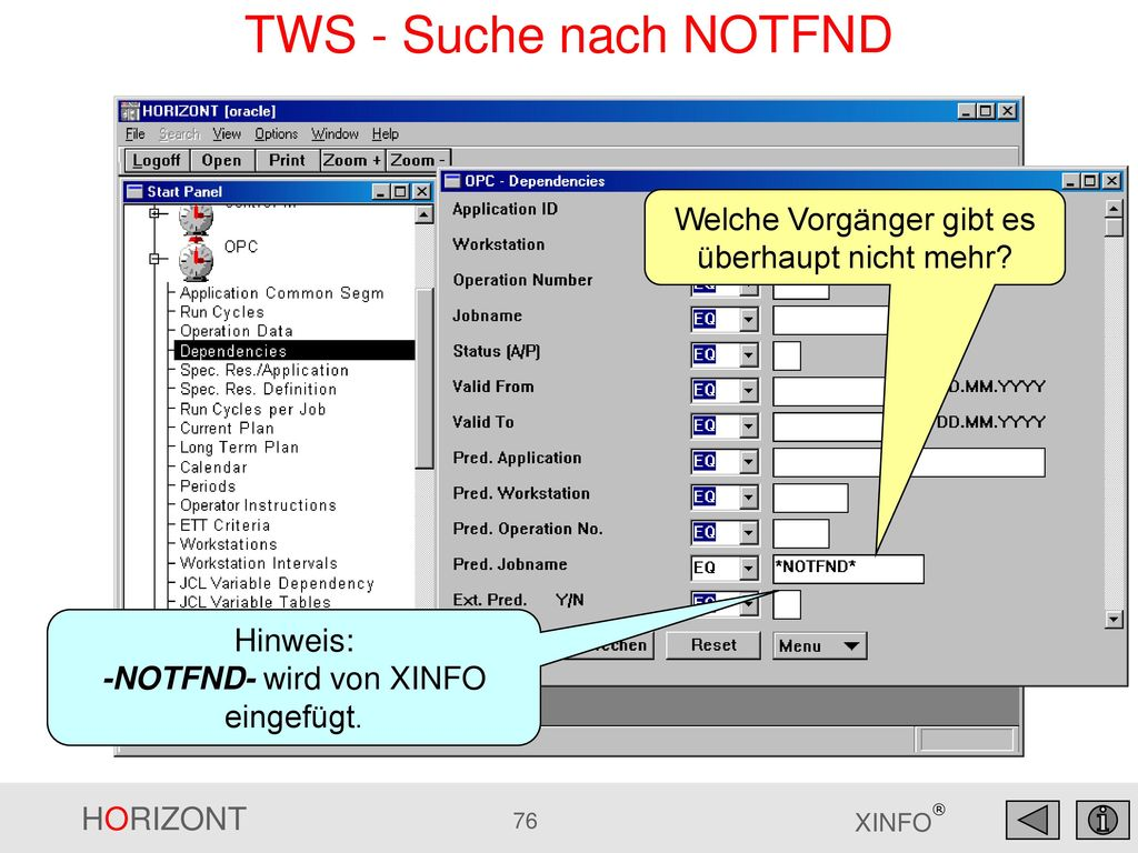 TWS - Suche nach NOTFND Welche Vorgänger gibt es überhaupt nicht mehr