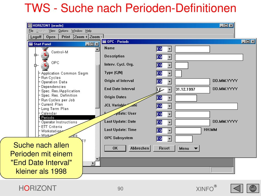 TWS - Suche nach Perioden-Definitionen