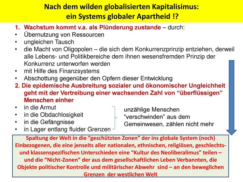 Nach dem wilden globalisierten Kapitalisimus: ein Systems globaler Apartheid !