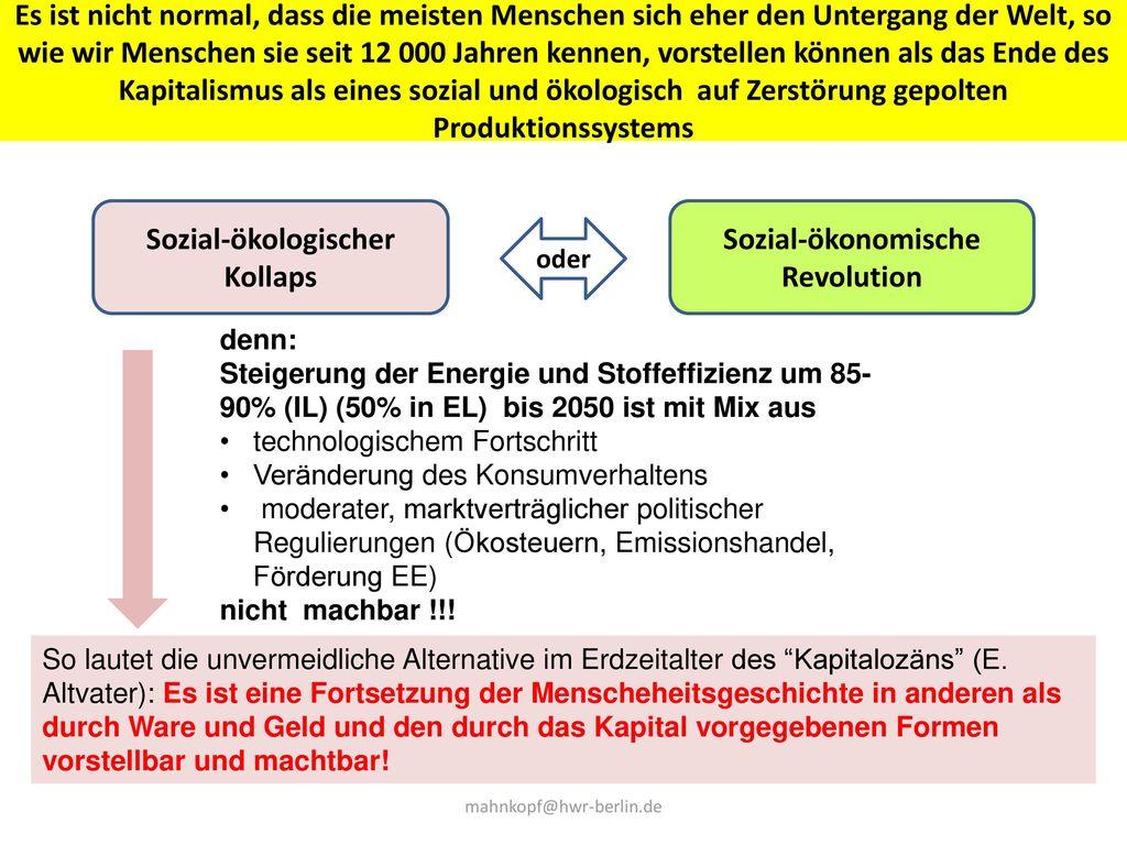 Sozial-ökologischer Kollaps Sozial-ökonomische Revolution