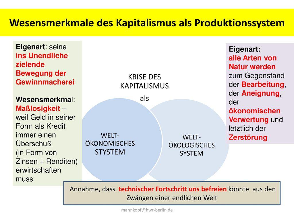 Wesensmerkmale des Kapitalismus als Produktionssystem