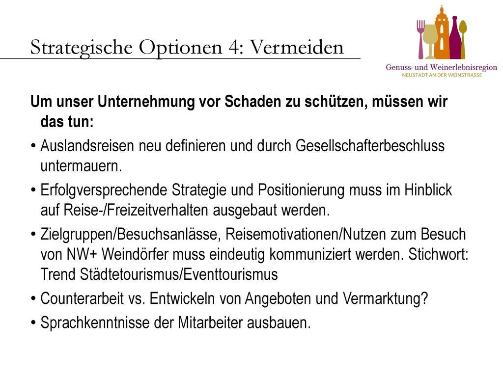 Strategische Optionen 4: Vermeiden
