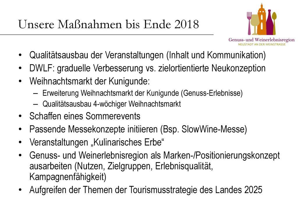 Unsere Maßnahmen bis Ende 2018