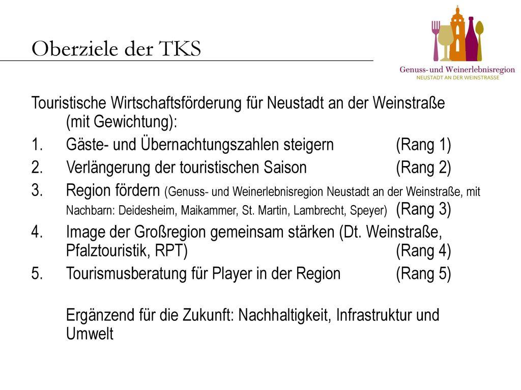 Oberziele der TKS Touristische Wirtschaftsförderung für Neustadt an der Weinstraße (mit Gewichtung):
