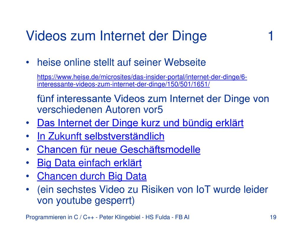 Videos zum Internet der Dinge 1