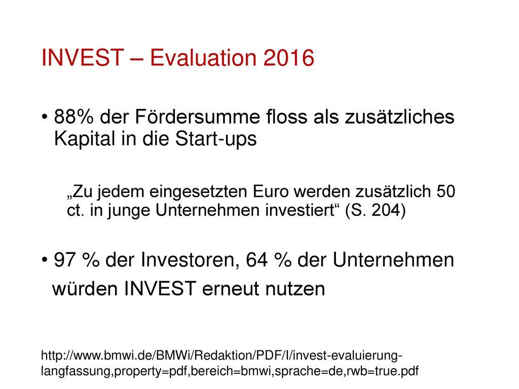 INVEST – Evaluation 2016 88% der Fördersumme floss als zusätzliches Kapital in die Start-ups.