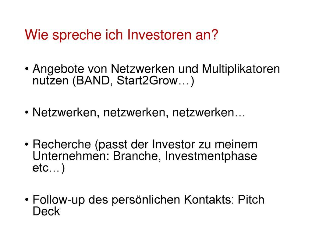 Wie spreche ich Investoren an