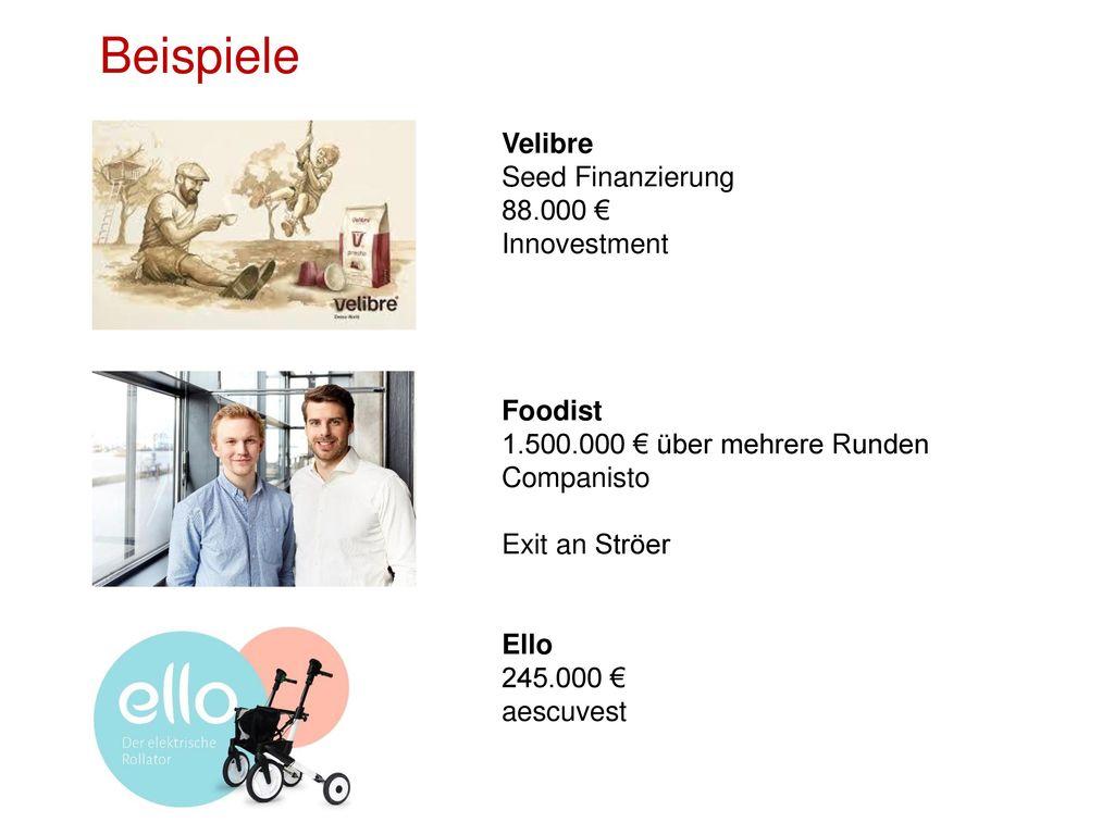 Beispiele Velibre Seed Finanzierung 88.000 € Innovestment Foodist