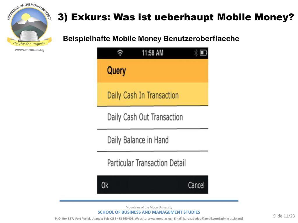 3) Exkurs: Was ist ueberhaupt Mobile Money