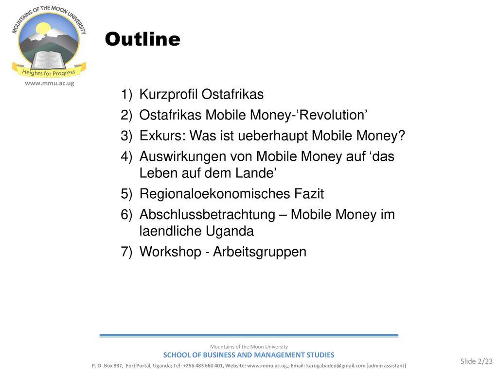 Outline Kurzprofil Ostafrikas Ostafrikas Mobile Money-'Revolution'