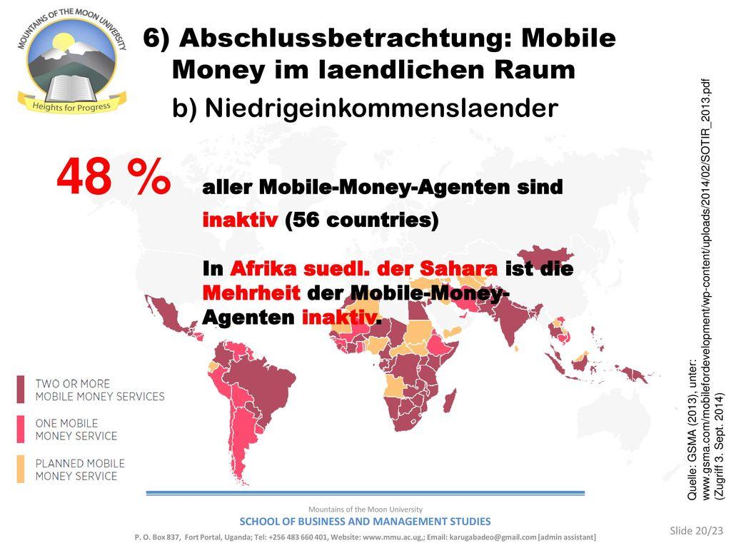 48 % aller Mobile-Money-Agenten sind inaktiv (56 countries)