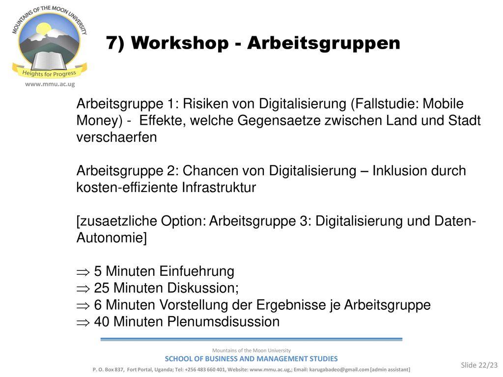 7) Workshop - Arbeitsgruppen