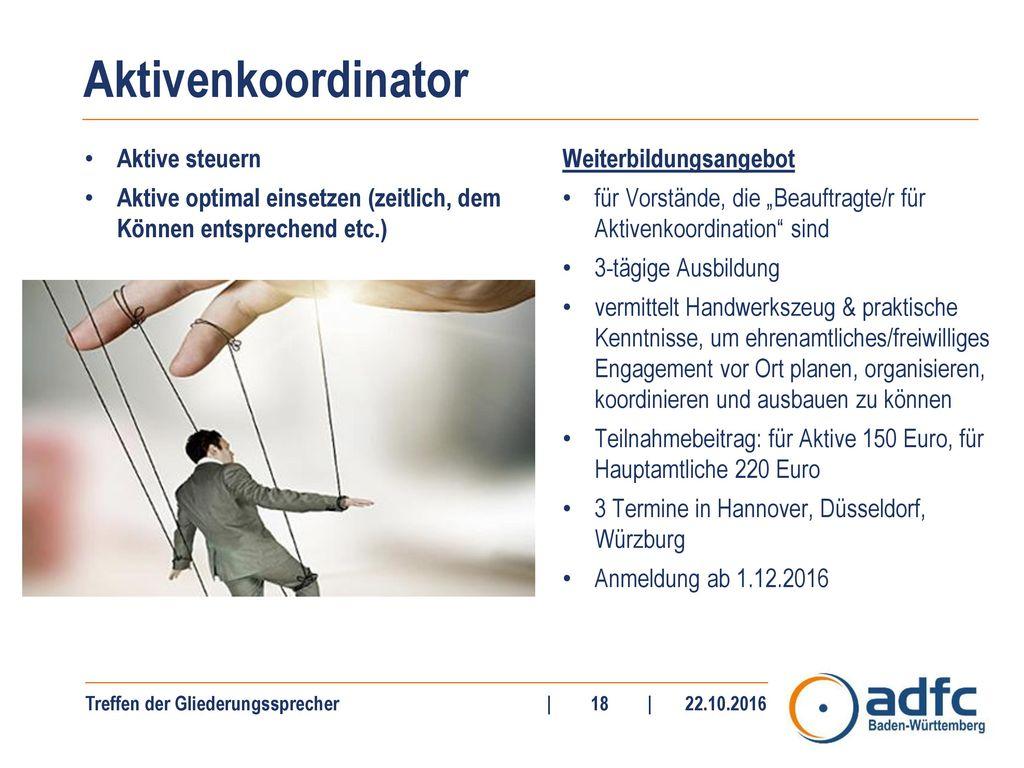 Aktivenkoordinator Aktive steuern