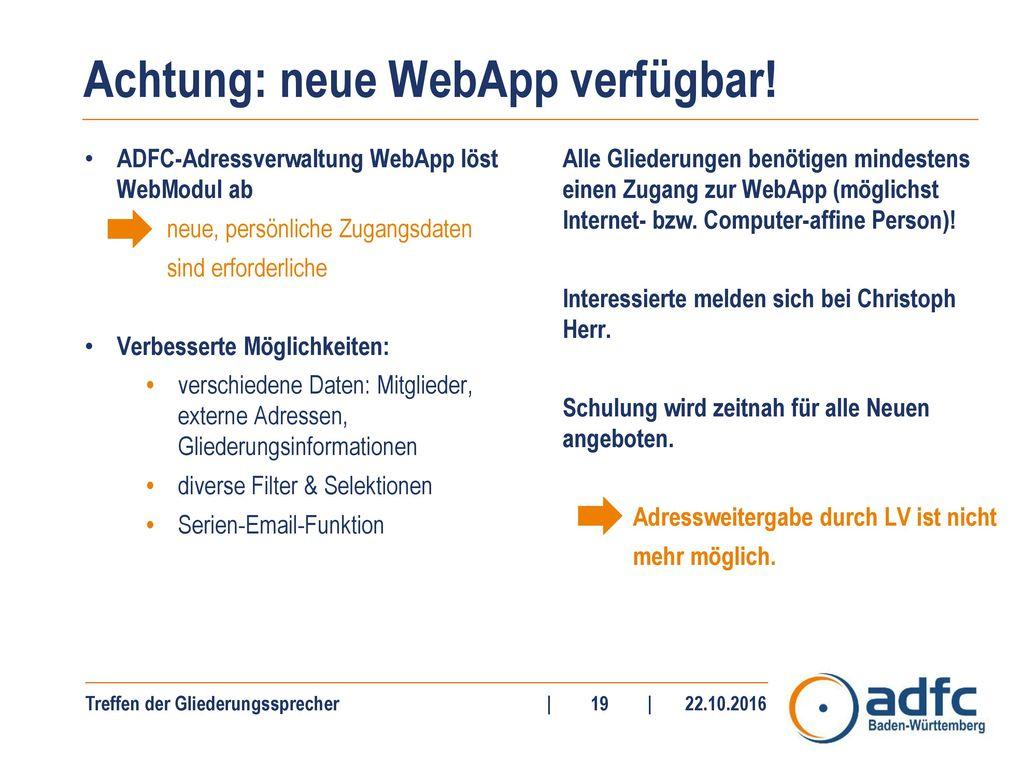 Achtung: neue WebApp verfügbar!