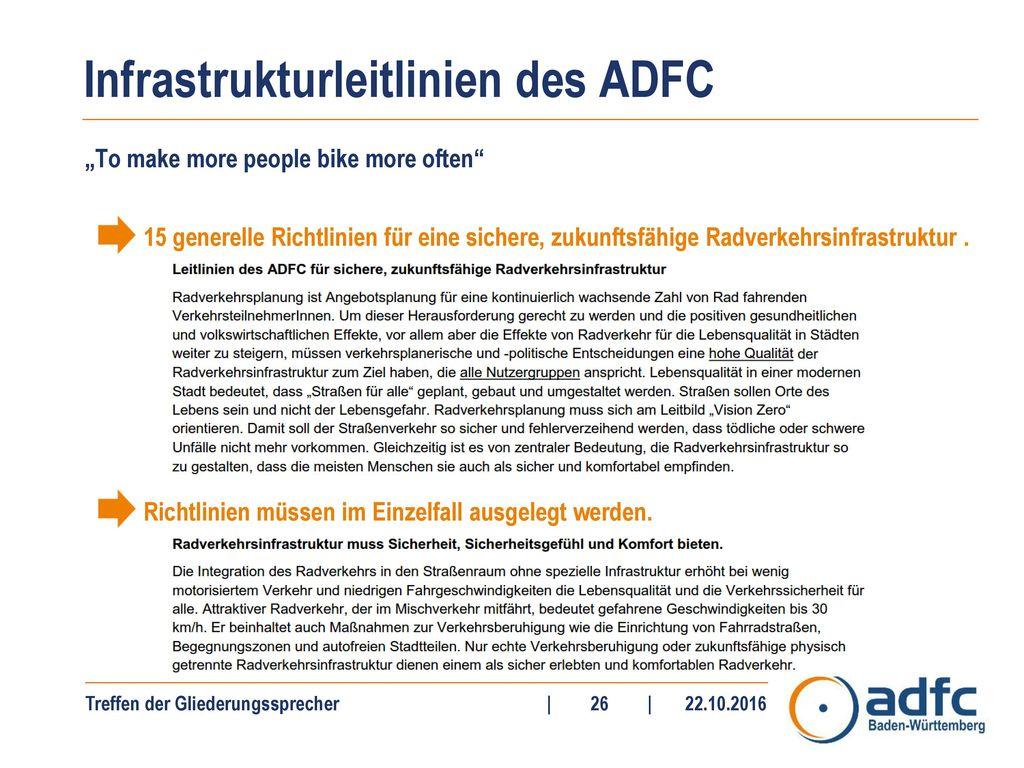 Infrastrukturleitlinien des ADFC
