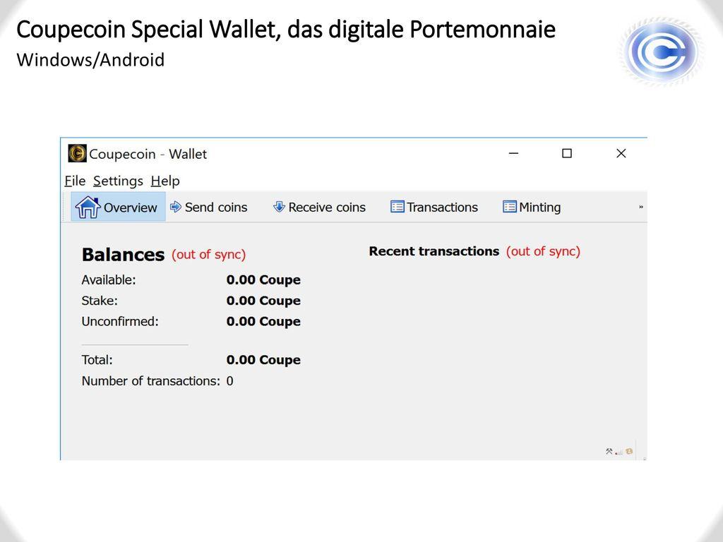 Coupecoin Special Wallet, das digitale Portemonnaie