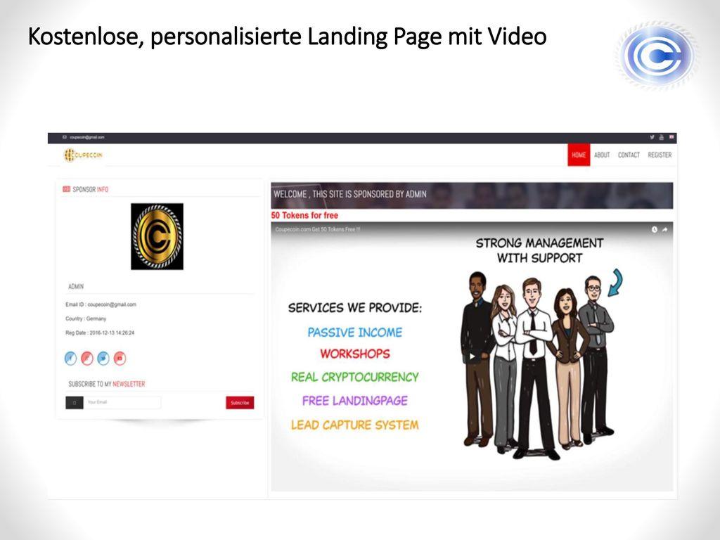Kostenlose, personalisierte Landing Page mit Video