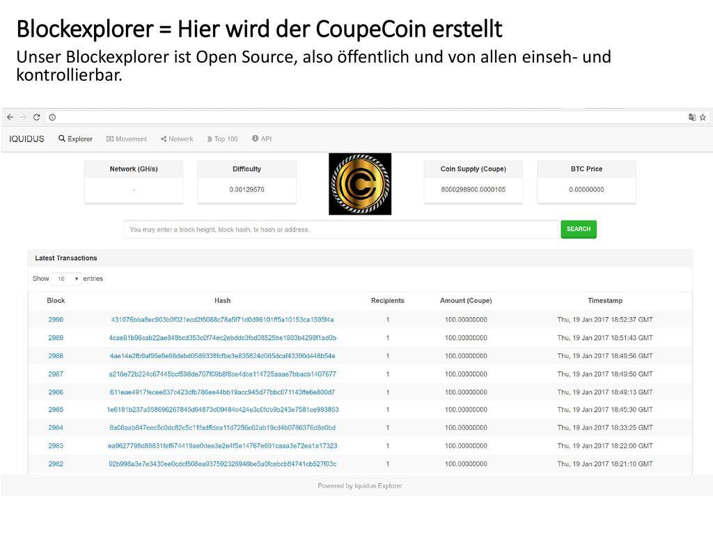Blockexplorer = Hier wird der CoupeCoin erstellt