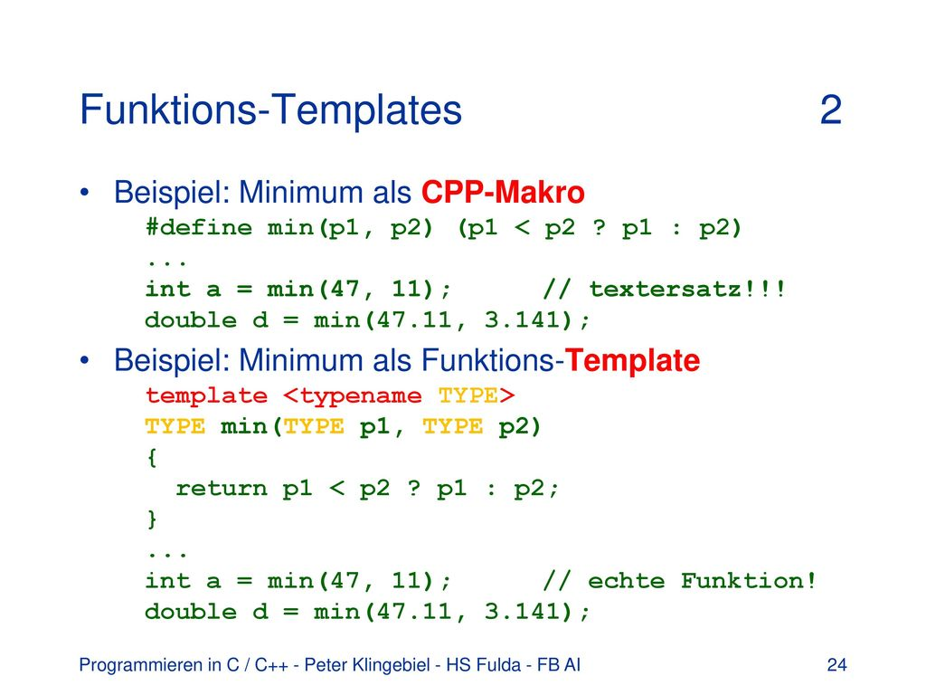 Funktions-Templates 2
