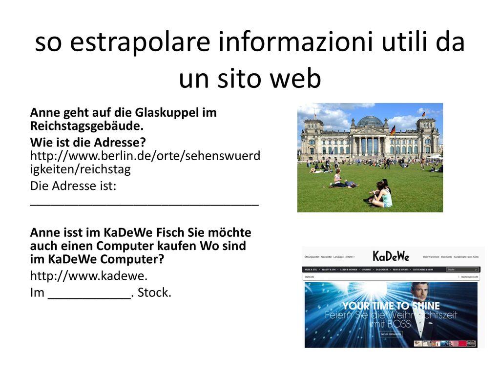 so estrapolare informazioni utili da un sito web