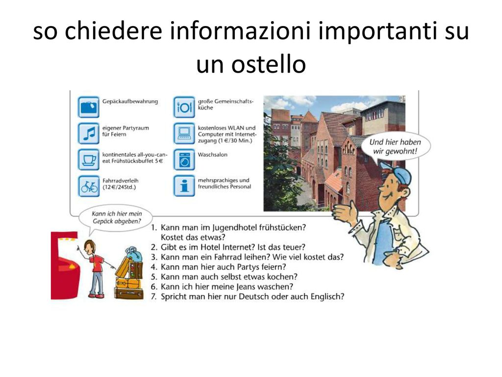 so chiedere informazioni importanti su un ostello