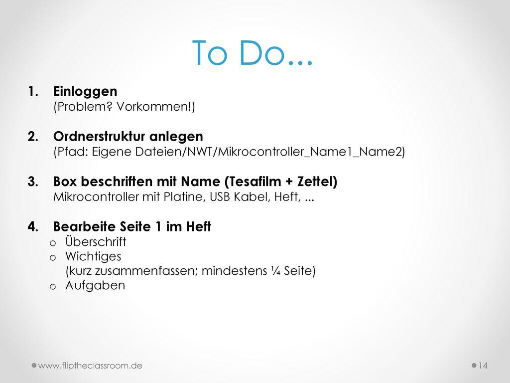 To Do... Einloggen (Problem Vorkommen!)
